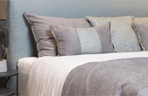 Fine fabric grey bedding