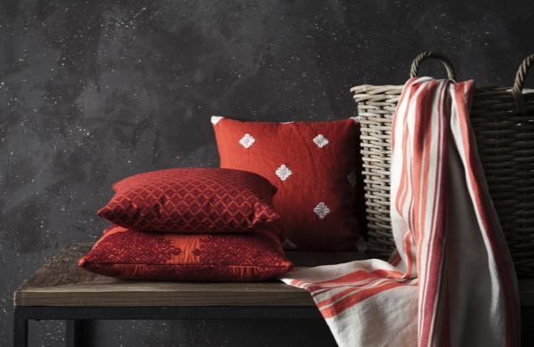 Fine fabrics red pillows