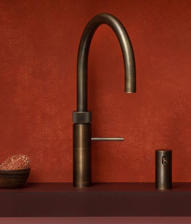 Quooker tap and soap dispenser round bronze